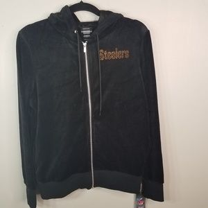 NWT Pittsburgh steelers black velour jacket size L